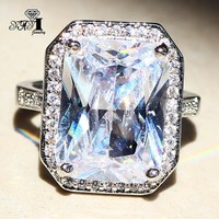 YaYI Jewelry Fashion  Princess Cut  Huge 7.8CT White Zircon Silver Color Engagement Rings wedding Rings Party Rings