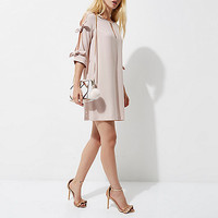 Nude pink cut out bow sleeve swing dress - Swing Dresses - Dresses - women