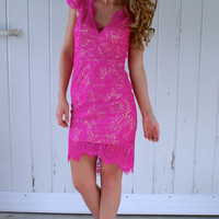 Living For The Night Dress: Hot Pink