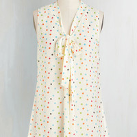 Mid-length Sleeveless South Florida Spree Top in Ivory Dots