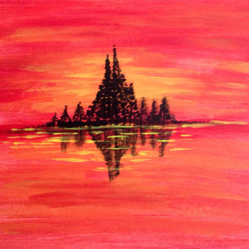 Golden Red Orange Yellow Sunset Trees silhouette Seascape nature painting acrylic painting canvas art  Water Ocean Sea reflection Wall decor