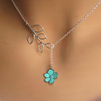Aqua Orchid Flower with CZ and Branch lariat necklace.