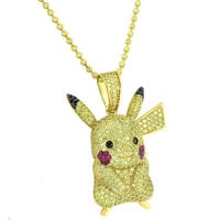 Pikachu Pendant Necklace Yellow Lab Diamonds Pokemon Sterling Silver Gold Finish New
