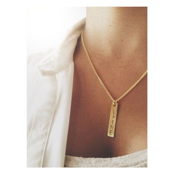 Custom Name Necklace- Stamped Gold Tone Bar Name Necklace - Personalized Dog Tag Necklace