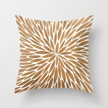 Rose Gold Burst Throw Pillow by Cat Coquillette