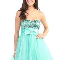 sequin glitter mesh strapless party dress with bow accent - debshops.com