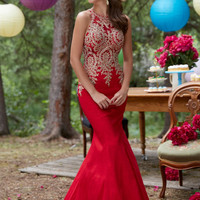 Elegant New Red Mermaid Prom Dresses Lace Taffeta Evening Dresses Sapphire Long Party Prom Gown Pageant Dresses Custom Size