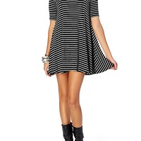 Striped Babydoll Hankerchief Hem Mini Dress