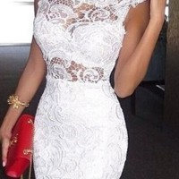 White Floral Hollow-out Band Collar Sleeveless Lace Dress