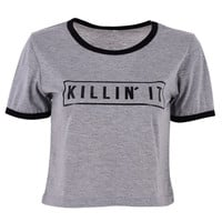 Fashion Women 'Killin It' Letter Print Summer Top Casual Patchwork T shirt 2017 Sexy Slim Funny Top Tee  Short Sleeve Shirts