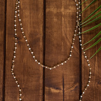 Inner Compass Beaded Necklace And Earring Set (Cream/Gold)