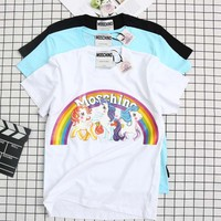 Moschino Fashion Women Men Casual Cute Rainbow Cartoon Print Short Sleeve Pure Cotton T-Shirt Top I12659-1