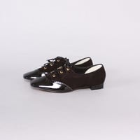 Vintage 60s SHOES / 1960s BLACK Suede & Patent Leather Lace-Up Mod Flats 9 1/2 New Unworn Old Stock