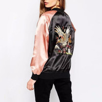 Eagle Embroidered Silk Bomber Jacket