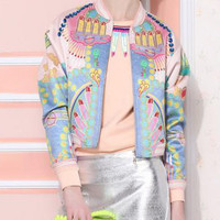 Graffiti Print Zipper Crop Blue Jacket
