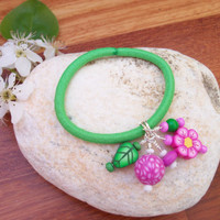 Beaded Hair Tie - pink and green polymer clay beaded ponytail holder