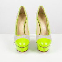 Linen and Neon Green Leather Platform Pumps