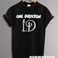One Direction Shirt The Note Symbol Printed on Black and White t-Shirt For Men or Women Size X 08