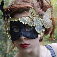 Black Masquerade Mask gold masquerade ball mask gold fairy mask butterfly mask black party mask venetian carnival mask masquerade prom FAUNA