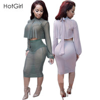 S-XL 2 Colors New Arrival 2016 Fall Fashion Womens Sexy Two Piece Bodycon Dress Full Sleeve Women Outfits Mesh Party Dresses