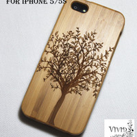BIG DISCOUNT35%OFF Natural wood iPhone 5/5s case, Bamboo Tree with leaves, Art, Gift, Engraving, Wooden Pattern, Real wood