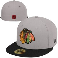 New Era Chicago Blackhawks 2-Tone Vintage 59FIFTY Fitted Hat - Gray/Black