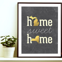 Home Sweet Home - Home State Print - Home State Art - Two State Art- Two States Love- Couple Gift - Unique Couple Gift- Long Distance Couple