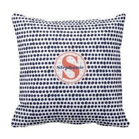 Navy blue and white Polka Dot Pattern Monogrammed Throw Pillow
