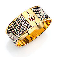 Tory Burch - Skinny Snake-Embossed Leather-Inlay Cuff Bracelet - Saks Fifth Avenue Mobile