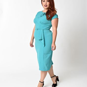 Stop Staring! Plus Size 1940s Style Aqua Fitted Timeless Wiggle Dress