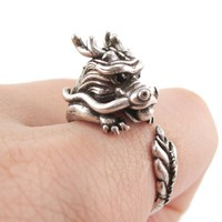 Detailed Dragon Shaped Animal Hugging Your Finger Ring in Silver   US Size 6 to 9 Available