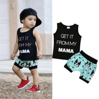 2PCS Summer Baby Toddler Kids Boy Clothes Sleeveless T-shirt Tops + Pants Outfit