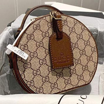 GUCCI New fashion more letter print leather shopping leisure round shoulder bag crossbody bag