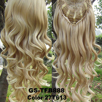 """HOT 3/4 Half Long Curly Wavy Wig Heat Resistant Synthetic Wig Hair 200g 24"""" Highlighted Curly Wig Hairpieces with Comb Wig Hair GS-TFB888 27T613"""