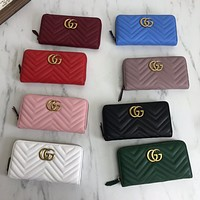 GUCCI new lychee pattern women's long coin purse card holder