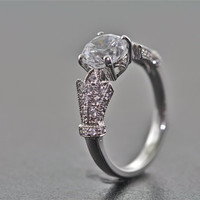 14kt White Gold and Diamond Art Deco Design Engagement Ring With 1.25 Carat White Sapphire Center