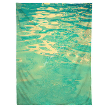 Summer Waters Hanging Wall Tapestry, Home Decor, Dorm Art, Nautical, Pool, Tropical, Island, Waves, Ripples, Beach, Headboard Tapestry, Teal