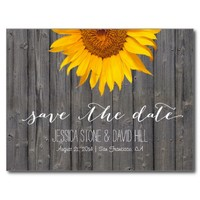 Country Sunflower Barn Wood Wedding Save the Date