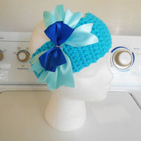 Beautiful Blue Frozen Elsa Inspired Crochet Headband Hair Bow Will fit kids and adult