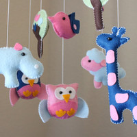 """Baby Crib Mobile - Baby Mobile - Nursery Crib Mobile """"Baby Animals in the Day"""" (You can pick your colors) Owl Bird Mobile"""