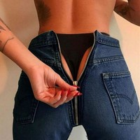 Fashion Trending Hip Zipper High Waist Denim Jeans