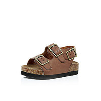 River Island Mini boys brown double strap flat bed sandals