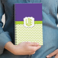 Personalized Monogram Purple and Lime Green Chevron Spiral Notebook for Writing