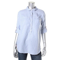 Tommy Hilfiger Womens Linen Striped Button-Down Top