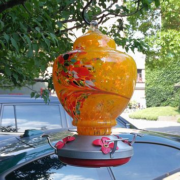 Orange Feather Hand Blown Glass Hummingbird Feeder with Perch - Holds 38 oz of Nectar