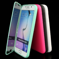 TPU Wrap Up Case Cover w/Built in Screen Protector For Samsung Galaxy S6