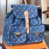 LV Louis Vuitton canvas denim blue large-capacity backpack bag