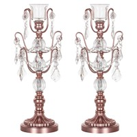 2-Piece Chandelier Candlestick Candelabra Set with Glass Crystals (Rose Gold)