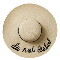 """Do Not Disturb"" Floppy Straw Hat in Cream"