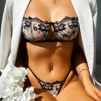New style embroidered net yarn lace sexy bra underwear set
